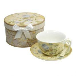 чашка с блюдцем SIJ Белые розы 275мл фарфор
