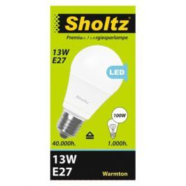 лампа светодиодная 13Вт E27 груша 2700К 220В пластик