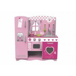 Деревянная кухня с плитой, мойкой, микроволновкой и холодильником