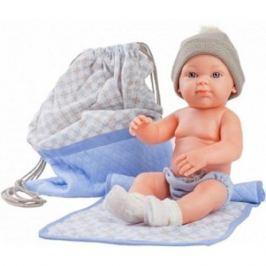 Кукла Бэби с рюкзаком и одеяльцем, 32 см, голубой, Paola Reina