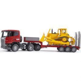 Тягач с прицепом–платформой Scania с гусеничным бульдозером CAT (подходит модуль со звуком и светом)