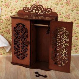 Шкаф для спальни с двумя дверцами и 3-мя вешалками (коричневый), ЯиГрушка