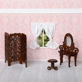 Будуар (туалетный столик, табурет, ширма) (коричневый), ЯиГрушка