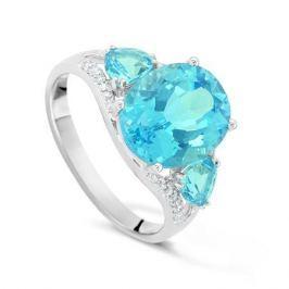 Кольцо с бриллиантами и топазами из белого золота VALTERA 42771