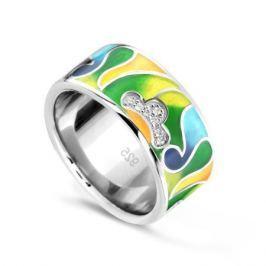 Кольцо с фианитами и эмалью из серебра VALTERA 74204