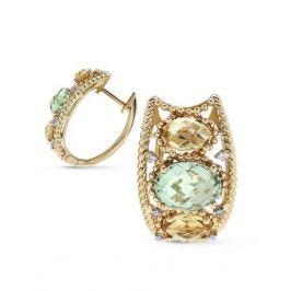 Серьги с полудрагоценными камнями из желтого золота VALTERA 63667