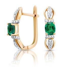 Серьги с изумрудами и бриллиантами из розового золота VALTERA 90600