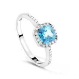 Кольцо с бриллиантами и топазами из белого золота VALTERA 54017