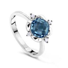 Кольцо с бриллиантами и топазами из белого золота VALTERA 60709