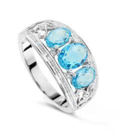 Кольцо с бриллиантами и топазами из белого золота VALTERA 60481