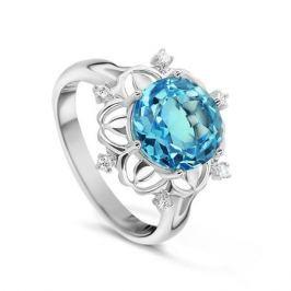 Кольцо с бриллиантами и топазами из белого золота VALTERA 53909