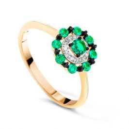 Кольцо с изумрудами и бриллиантами из розового золота VALTERA 73649