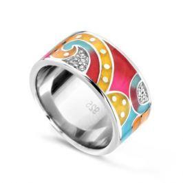 Кольцо с фианитами и эмалью из серебра VALTERA 74222