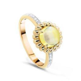 Кольцо с кварцем и бриллиантами из желтого золота VALTERA 54247