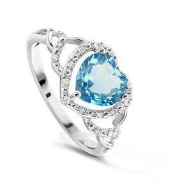 Кольцо с бриллиантами и топазами из белого золота VALTERA 60769