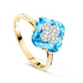 Кольцо с бриллиантами и топазами из желтого золота VALTERA 64110