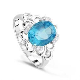 Кольцо с бриллиантами и топазами из белого золота VALTERA 63764