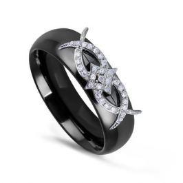 Кольцо с керамикой и бриллиантами из белого золота VALTERA 76229