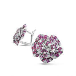 Серьги с рубинами и бриллиантами из белого золота VALTERA 55627