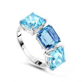 Кольцо с бриллиантами и топазами из белого золота VALTERA 48780