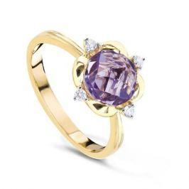 Кольцо с аметистами и бриллиантами из желтого золота VALTERA 60712