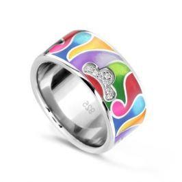 Кольцо с фианитами и эмалью из серебра VALTERA 74206