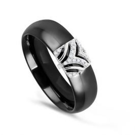 Кольцо с керамикой и бриллиантами из белого золота VALTERA 76231