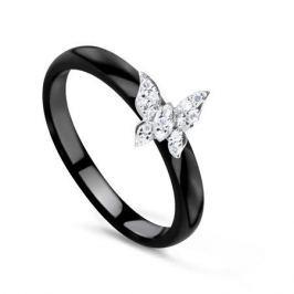 Кольцо с керамикой и бриллиантами из белого золота VALTERA 78078