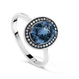 Кольцо с бриллиантами и топазами из белого золота VALTERA 60654