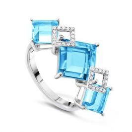 Кольцо с бриллиантами и топазами из белого золота VALTERA 50219