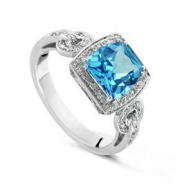 Кольцо с бриллиантами и топазами из белого золота VALTERA 52905