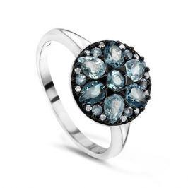 Кольцо с бриллиантами и топазами из белого золота VALTERA 48037