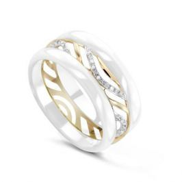 Кольцо с керамикой и бриллиантами из желтого золота VALTERA 78081