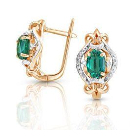 Серьги с изумрудами и бриллиантами из розового золота VALTERA 92029