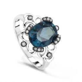 Кольцо с бриллиантами и топазами из белого золота VALTERA 64121