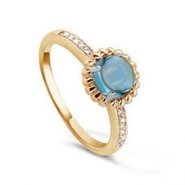 Кольцо с бриллиантами и топазами из желтого золота VALTERA 54710