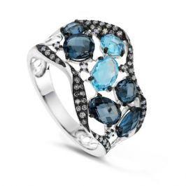 Кольцо с бриллиантами и топазами из белого золота VALTERA 62466