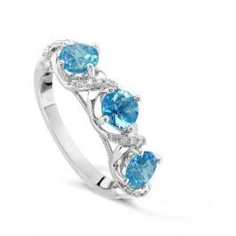 Кольцо с бриллиантами и топазами из белого золота VALTERA 49705