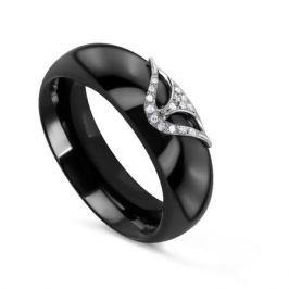 Кольцо с керамикой и бриллиантами из белого золота VALTERA 79189