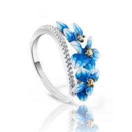 Кольцо с фианитами и эмалью из серебра VALTERA 83291