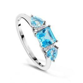 Кольцо с бриллиантами и топазами из белого золота VALTERA 48075
