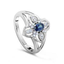 Кольцо с сапфирами и бриллиантами из белого золота VALTERA 18130