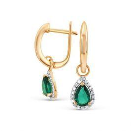 Серьги с изумрудами и бриллиантами из розового золота VALTERA 92034