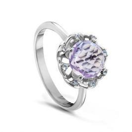 Кольцо с полудрагоценными камнями из белого золота VALTERA 53476