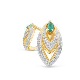 Серьги с изумрудами и бриллиантами из желтого золота VALTERA 18120