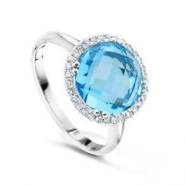 Кольцо с бриллиантами и топазами из белого золота VALTERA 49675