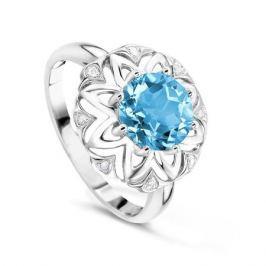 Кольцо с бриллиантами и топазами из белого золота VALTERA 60695