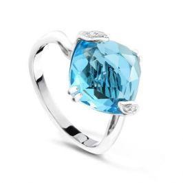 Кольцо с бриллиантами и топазами из белого золота VALTERA 63701