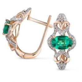 Серьги с изумрудами и бриллиантами из розового золота VALTERA 92622