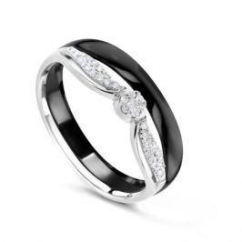 Кольцо с керамикой и бриллиантами из белого золота VALTERA 76949